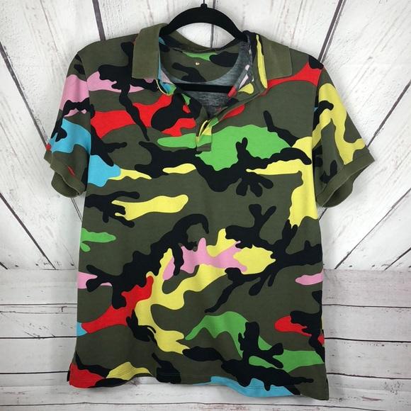 afa9bc931 Valentino Shirts | Camo Multi Colored Polo Shirt Sz Small | Poshmark